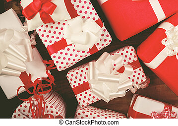 Christmas presents on the table - Christmas presents on old...