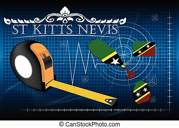 Map of St kitts nevis with ruler, vector.