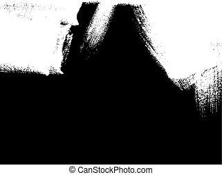 white brush stroke element on black