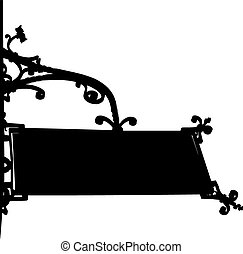 silhouette old store front sign with elegant curls and chain
