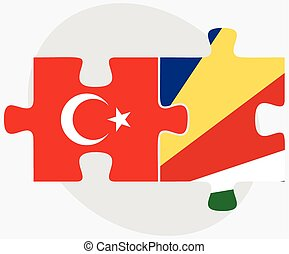 Turkey and Seychelles Flags in puzzle isolated on white...