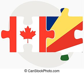 Canada and Seychelles Flags in puzzle isolated on white...