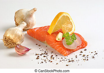 wild irish salmon fillet and lemon, pepper
