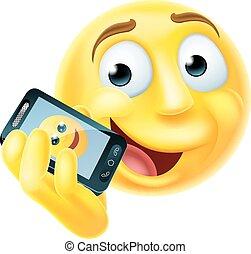 Mobile Phone Emoji Emoticon - A emoji emoticon smiley face...