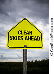Clear skies ahead road sign