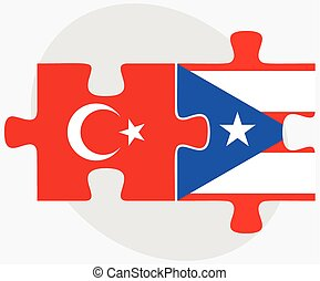 Turkey and Puerto Rico Flags in puzzle isolated on white...