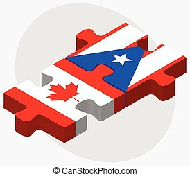 Canada and Puerto Rico Flags in puzzle isolated on white...