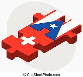 Switzerland and Puerto Rico Flags in puzzle isolated on...