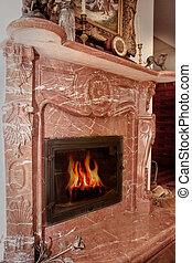 fire place - Beautiful stove fire place with burning tree...
