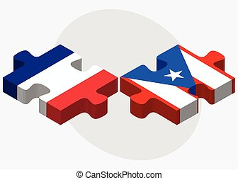 France and Puerto Rico Flags in puzzle isolated on white...