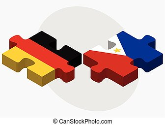 Germany and Philippines Flags in puzzle isolated on white...