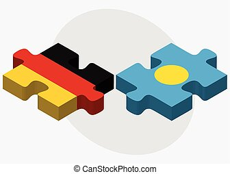 Germany and Palau Flags in puzzle isolated on white...