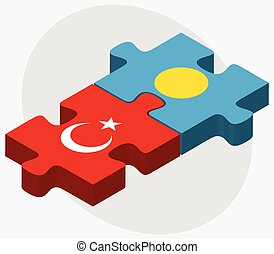 Turkey and Palau Flags in puzzle isolated on white...