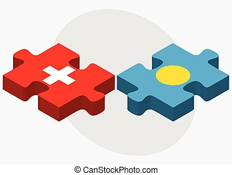 Switzerland and Palau Flags in puzzle isolated on white...