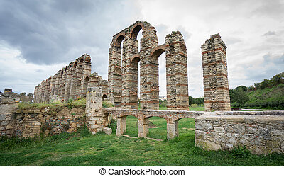 Aqueduct of the Miracles in Merida, Spain, UNESCO - Side...