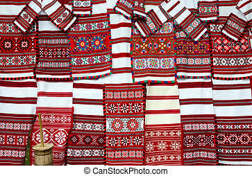 Belorussian woven towels with bright multicolored pattern -...