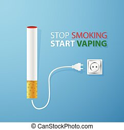Stop smoking.Start vaping.Electronic cigaret plugged in...