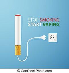Stop smoking.Start vaping.Electronic cigaret plugged in...