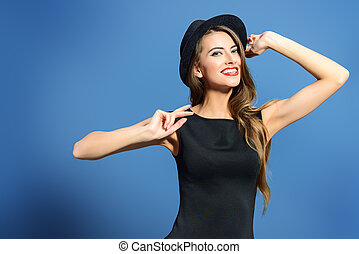 trendy charming - Joyful pretty girl wearing black dress and...
