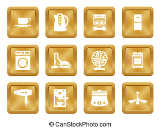 Buttons with silhouette domestic equipment icons - Gold...