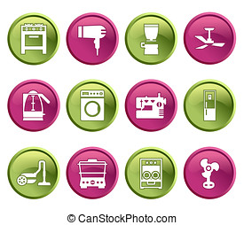 Buttons with silhouette domestic equipment icons - Green and...