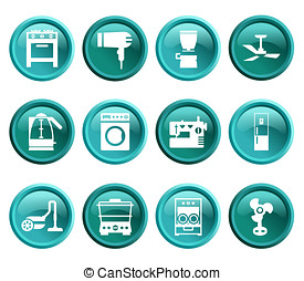 Buttons with silhouette domestic equipment icons - Blue and...