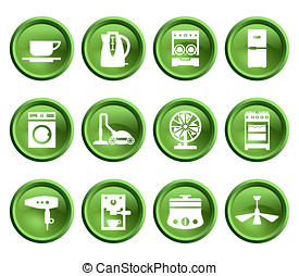 Buttons with silhouette domestic equipment icons - Green...