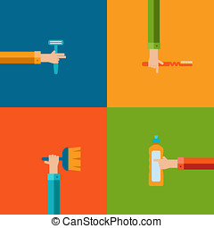 Vector human hands using cleaning products flat icons. -...