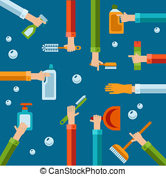 Vector human hands using cleaning products flat icons -...