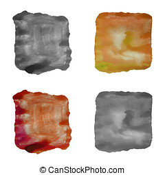 Set of abstract watercolor backgrounds. Vector, isolated. -...
