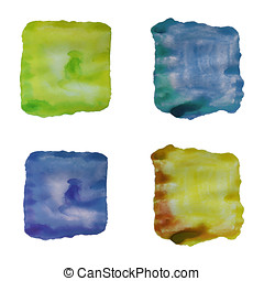 Set of abstract watercolor backgrounds Vector, isolated -...