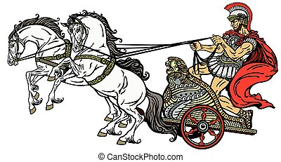 roman chariot - roman warrior in a chariot pulled by two...