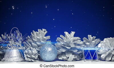 christmas decorations on blue background loop