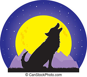 Wolf and Moon - A silhouette of a wolf howling at a large...