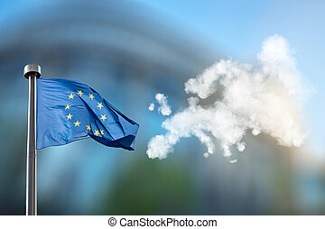 European union flag and map of Europe made of clouds