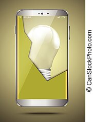 Broken mobile phone with a light bu
