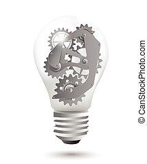 Steel gears in a light bulb - Steel gears as a design...