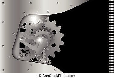 Realistic steel gear as a design background