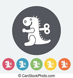 Dinosaurus toy icon Flat vector related icon for web and...