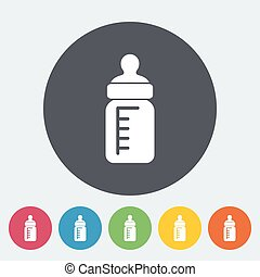 Feeding bottle icon. Thin line flat vector related icon for...