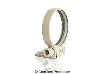 tripod mount -   Lens tripod mount, isolated on white