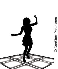 girl dances - illustration of girl dances in a short dress...