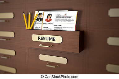 Minimalist resume - CVs of unemployed people in an office...