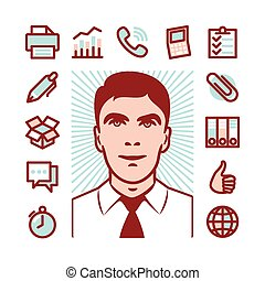 manager icon set - Manager with Fat Line Icons for web and...