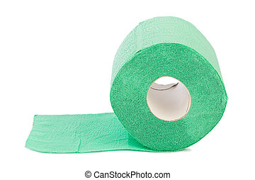 Green toilet paper isolated on white background