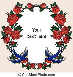 cadre, à, roses, et, Oiseaux,