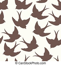 pattern with birds and letters