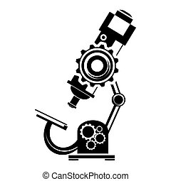 Black microscope icon on a white background