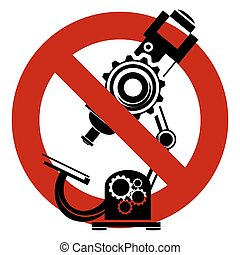 Stop or ban sign Microscope icon Medical scientific...