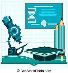 Science and education icons, Open book with tools for biology. Education. Back to school.